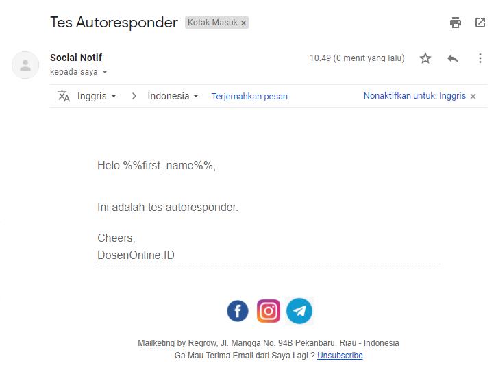 Contoh Email Terkirim